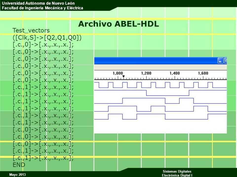 Archivo ABEL-HDL Test_vectors ([Clk,S]->[Q2,Q1,Q0])